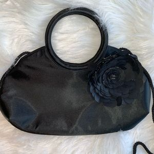 Black flowered Evening purse with attached Mirror